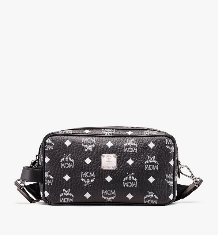 MCM Wash Bag in White Logo Visetos Alternate View