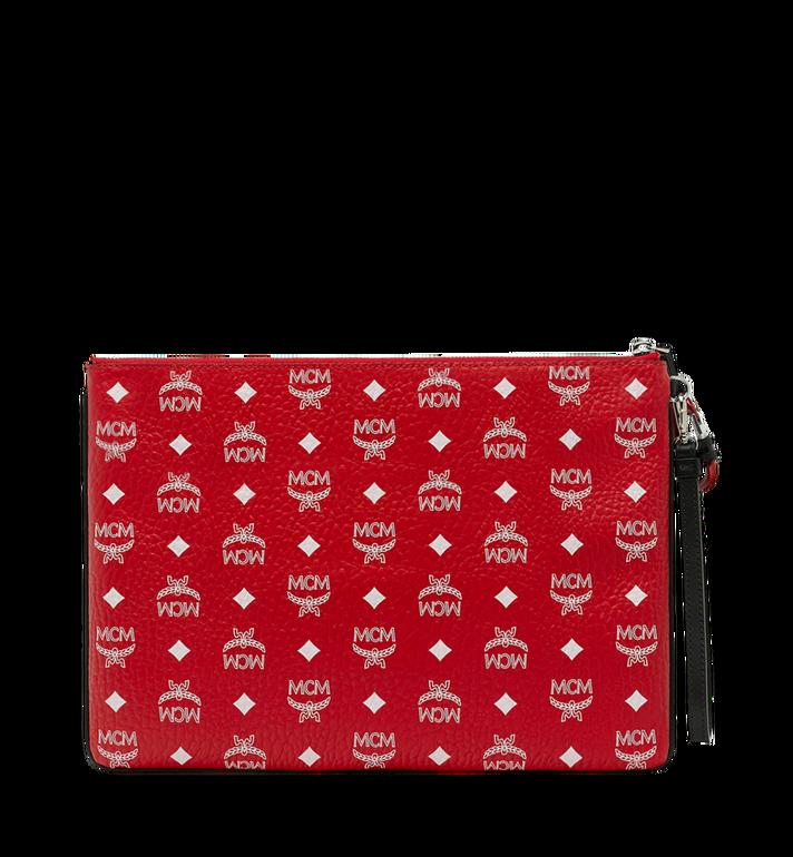 MCM Reissverschlussbeutel mit Handgelenksband mit Visetos-Logo in Weiss Red MXZ9SWA02AV001 Alternate View 3