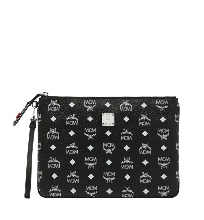 MCM Wristlet Zip Pouch in White Logo Visetos Alternate View