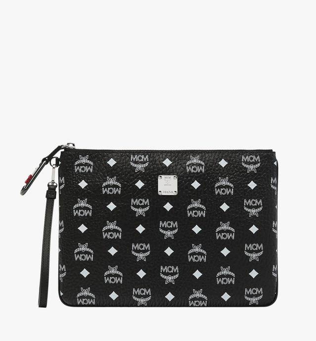 Wristlet Zip Pouch in White Logo Visetos