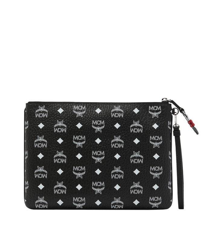 MCM Wristlet Zip Pouch in White Logo Visetos Black MXZ9SWA03BV001 Alternate View 3