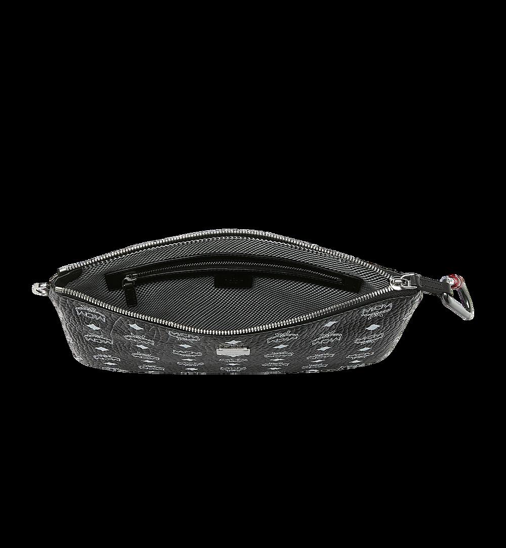 MCM Wristlet Zip Pouch in White Logo Visetos Black MXZ9SWA03BV001 Alternate View 3