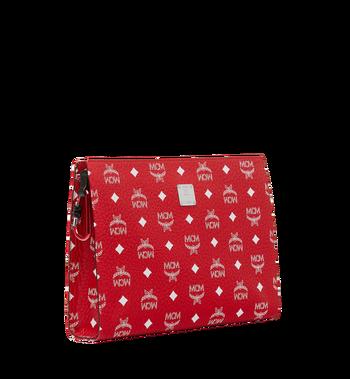 MCM Zip Pouch in White Logo Visetos Red MXZ9SWA04AV001 Alternate View 2