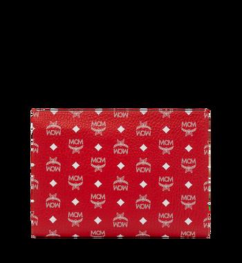 MCM Zip Pouch in White Logo Visetos Red MXZ9SWA04AV001 Alternate View 3