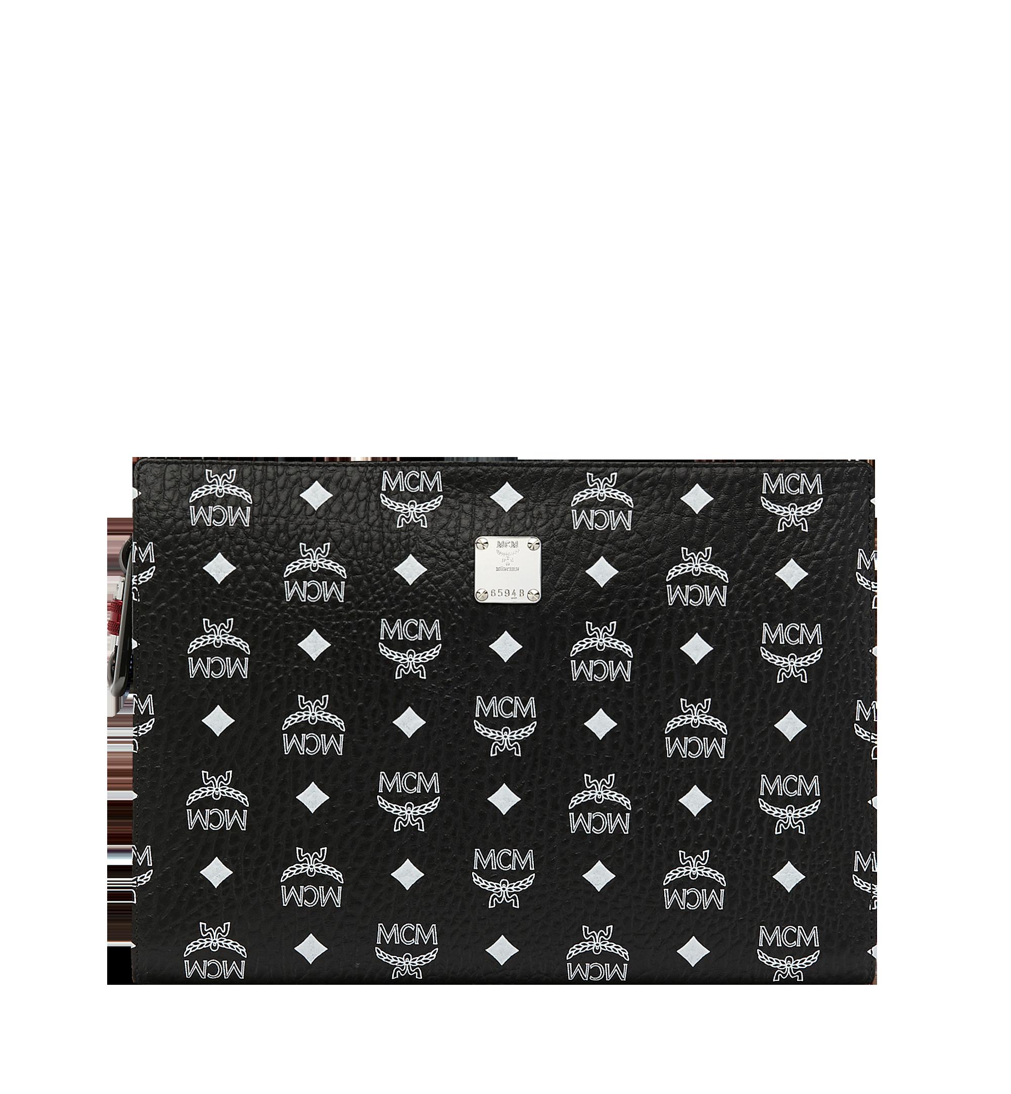 MCM Zip Pouch in White Logo Visetos Black MXZ9SWA04BV001 Alternate View 1