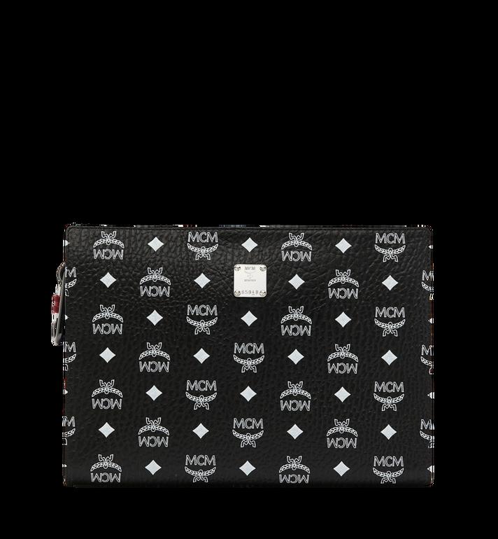 MCM Pochette zippée en Visetos à logo blanc Alternate View
