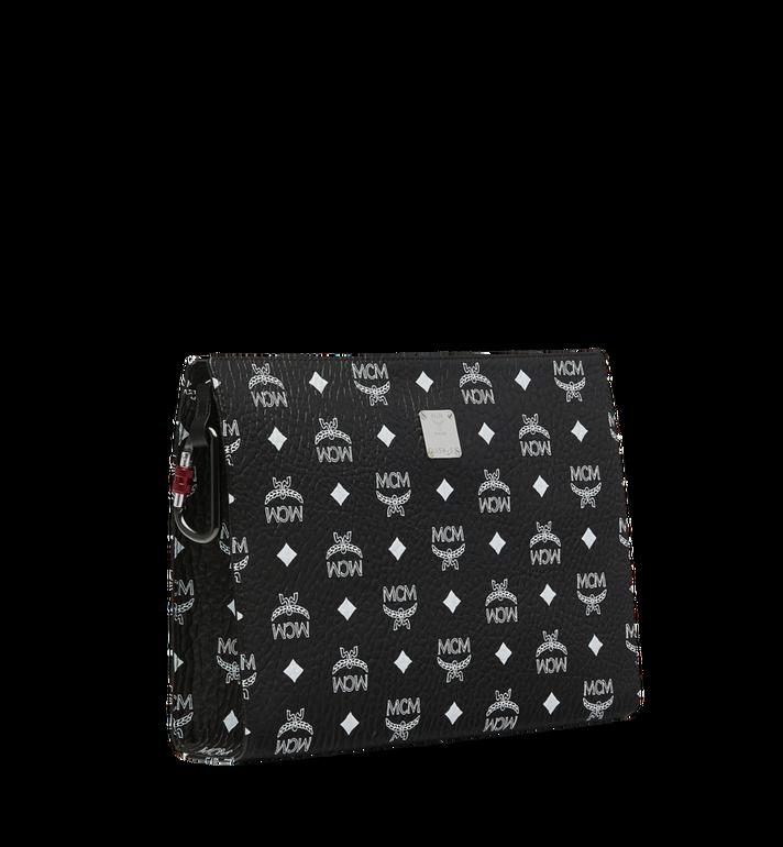 MCM Pochette zippée en Visetos à logo blanc Black MXZ9SWA04BV001 Alternate View 2