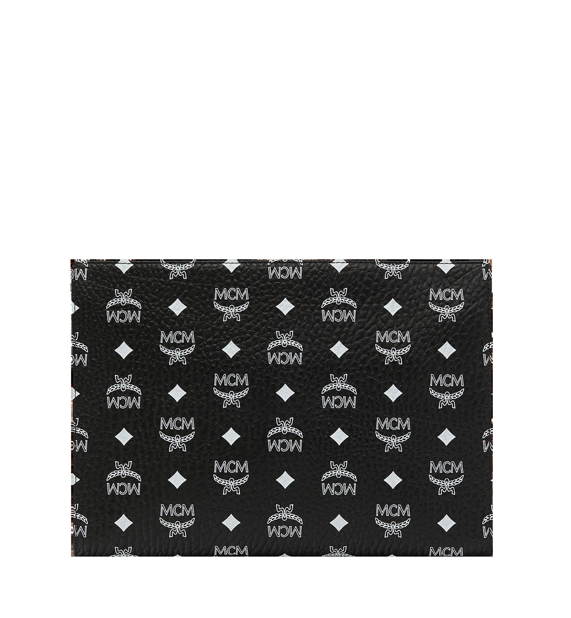 MCM Zip Pouch in White Logo Visetos Black MXZ9SWA04BV001 Alternate View 2