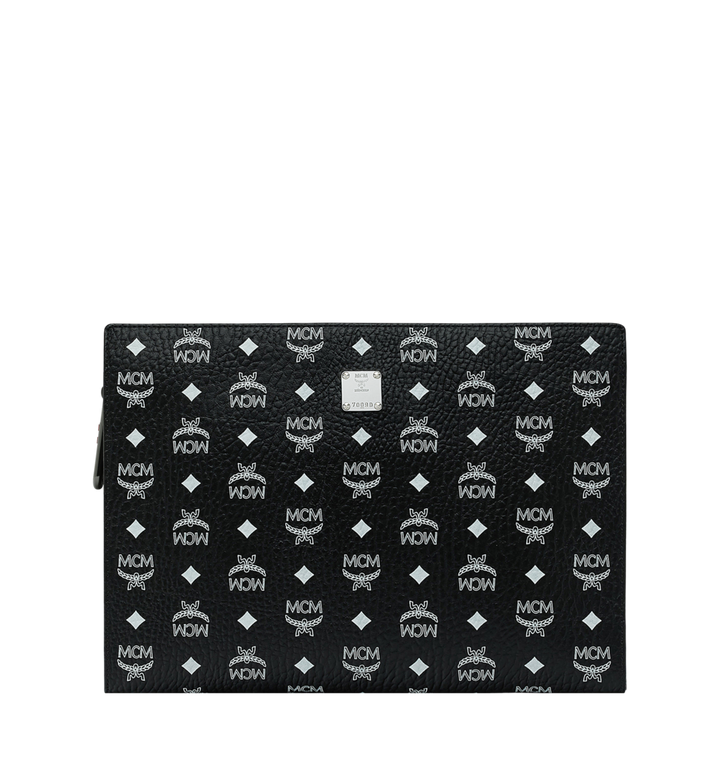 MCM Zip Pouch in White Logo Visetos MXZ9SWA12BV001 AlternateView