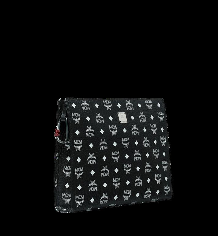 MCM Reissverschlussbeutel mit Visetos-Logo in Weiss Black MXZ9SWA12BV001 Alternate View 2