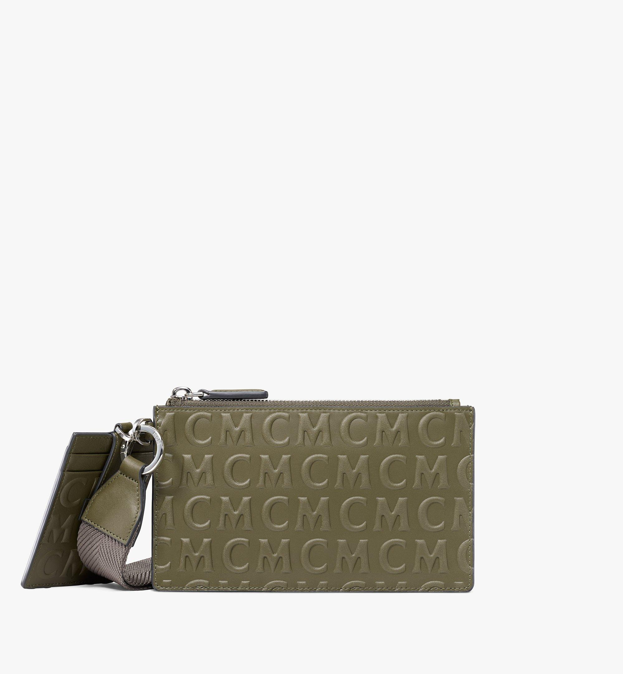 MCM Multifunction Pouch in MCM Monogram Leather Green MXZAAMD01JH001 Alternate View 1