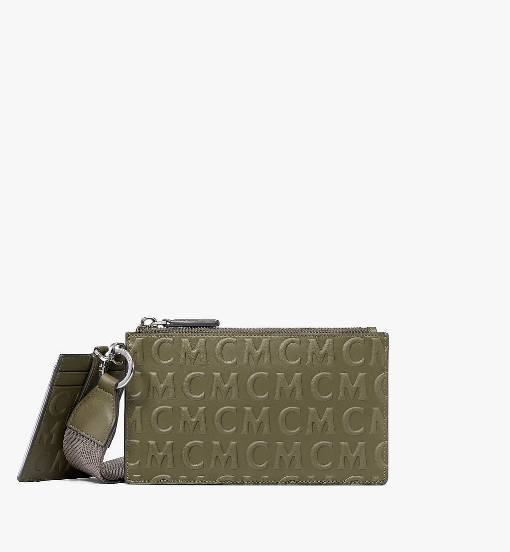 MCM Multifunction Pouch in MCM Monogram Leather Green MXZAAMD01JH001 Alternate View 1