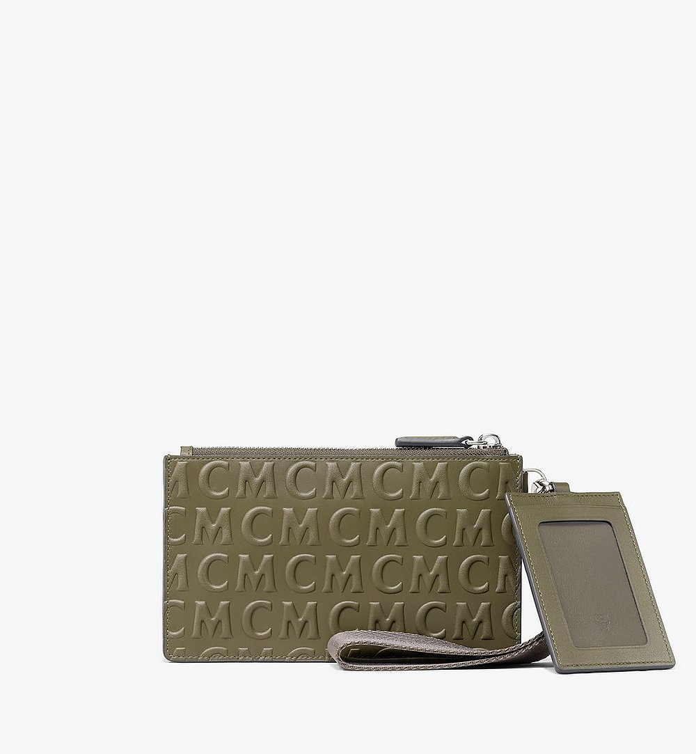 MCM Multifunction Pouch in MCM Monogram Leather Green MXZAAMD01JH001 Alternate View 2