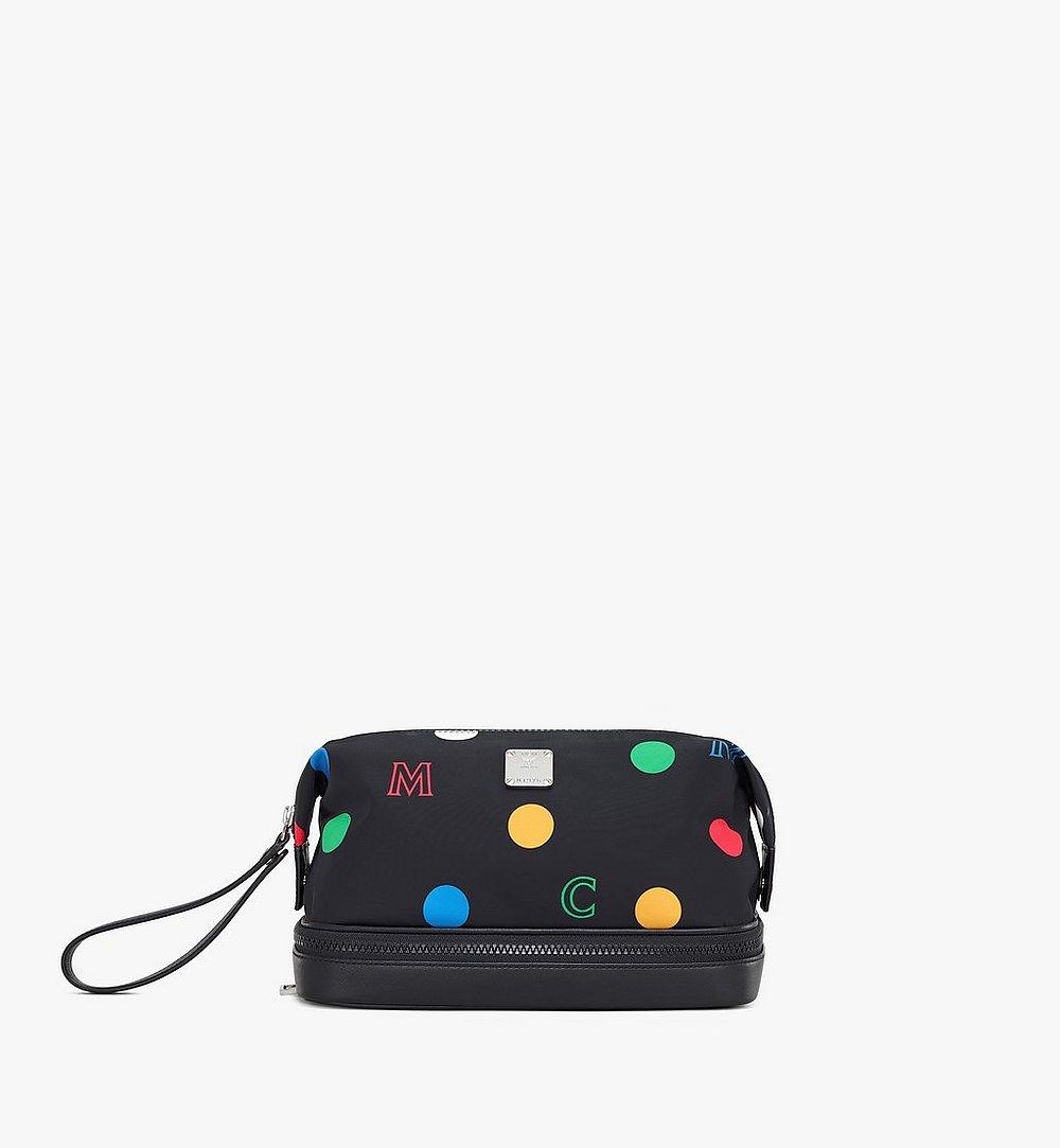 MCM Wash Bag in Polka Dot Nylon Black MXZAAPD01BK001 Alternate View 1
