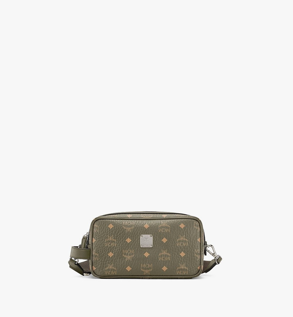MCM Wash Bag in Visetos Original Green MXZAAVI01JH001 Alternate View 1