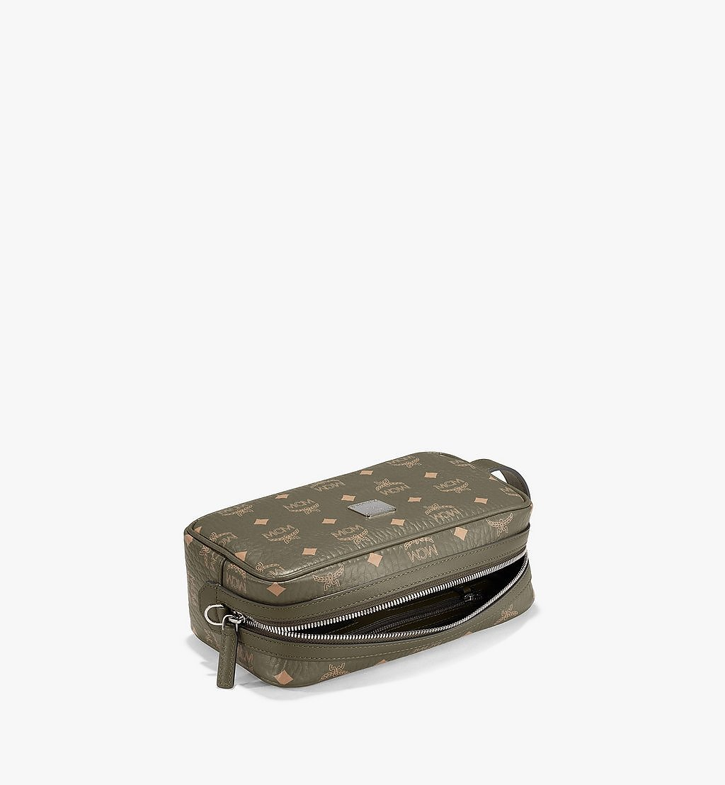 MCM Wash Bag in Visetos Original Green MXZAAVI01JH001 Alternate View 2