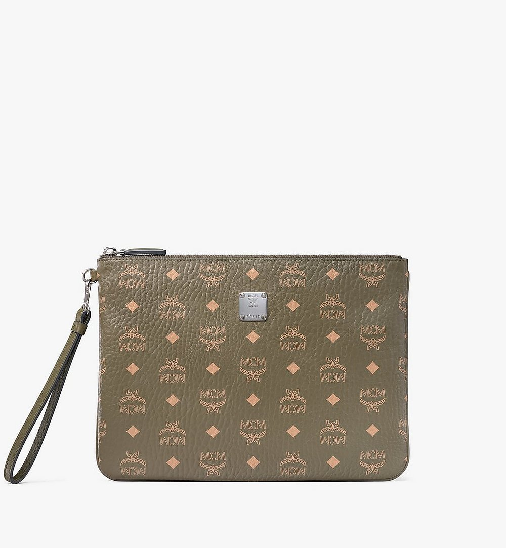 MCM Wristlet Zip Pouch in Visetos Original Green MXZAAVI03JH001 Alternate View 1