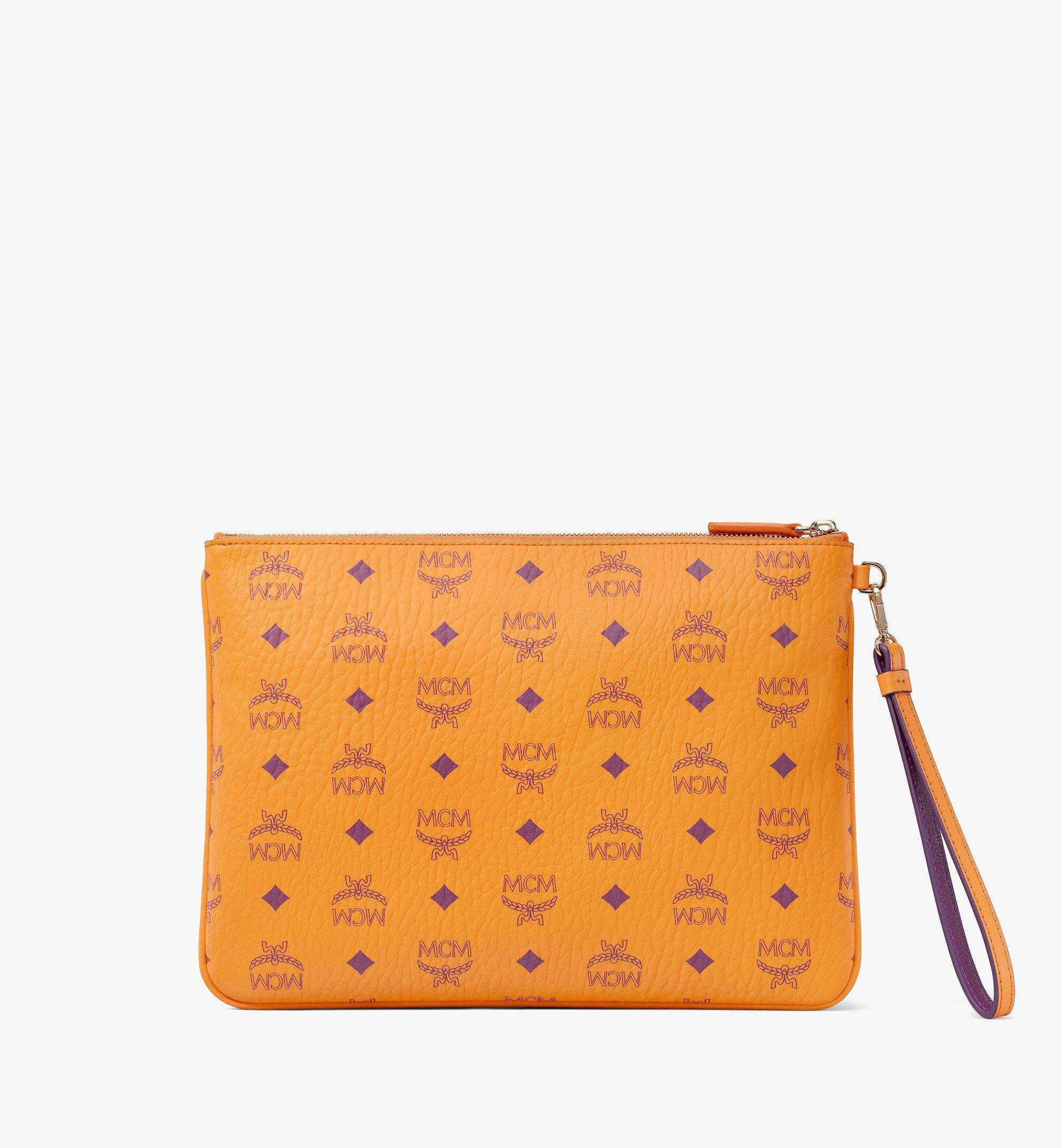 MCM Wristlet Zip Pouch in Visetos Original Orange MXZAAVI03O5001 Alternate View 3