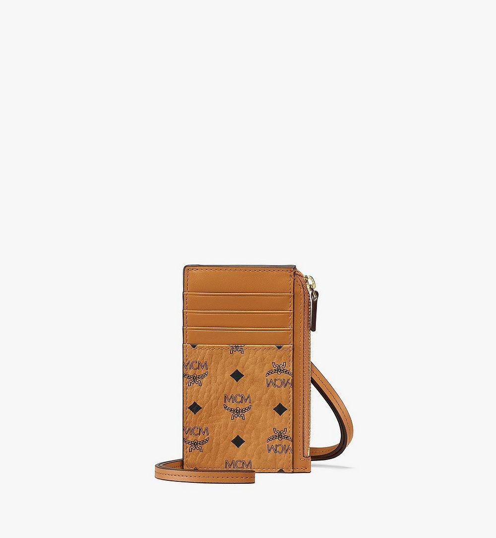 MCM Lanyard Card Holder in Visetos Original Cognac MXZAAVI08CO001 Alternate View 1