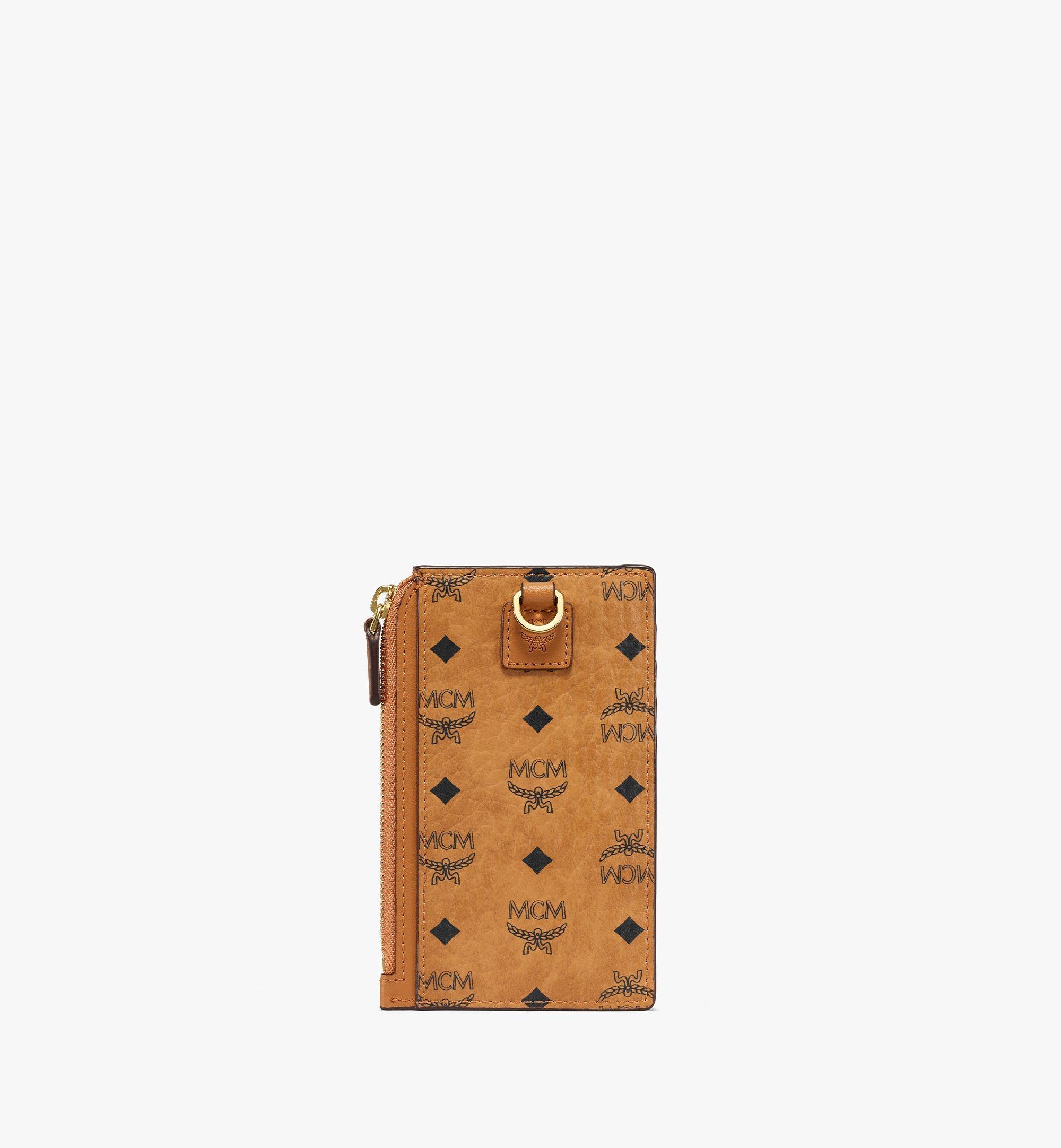 MCM Lanyard Card Holder in Visetos Original Cognac MXZAAVI08CO001 Alternate View 4