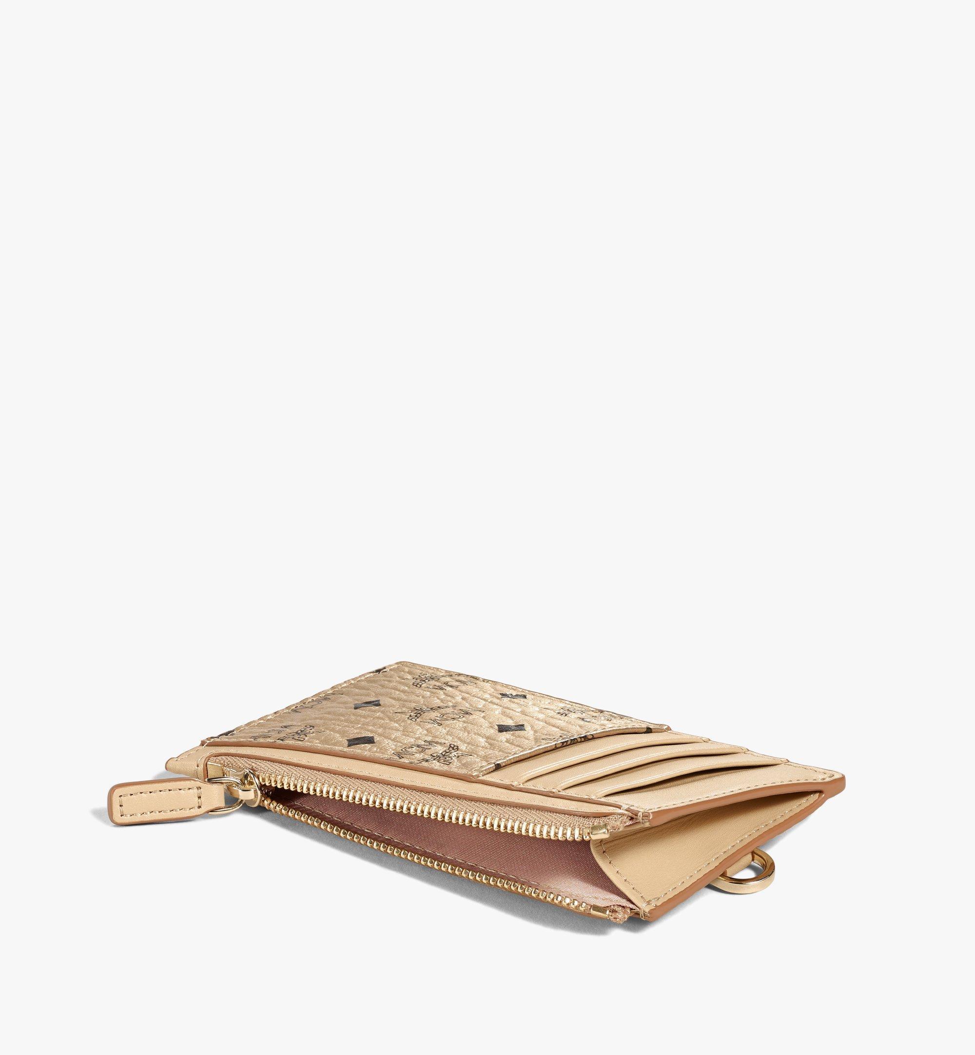 MCM Lanyard Card Holder in Visetos Original Gold MXZAAVI08T1001 Alternate View 1