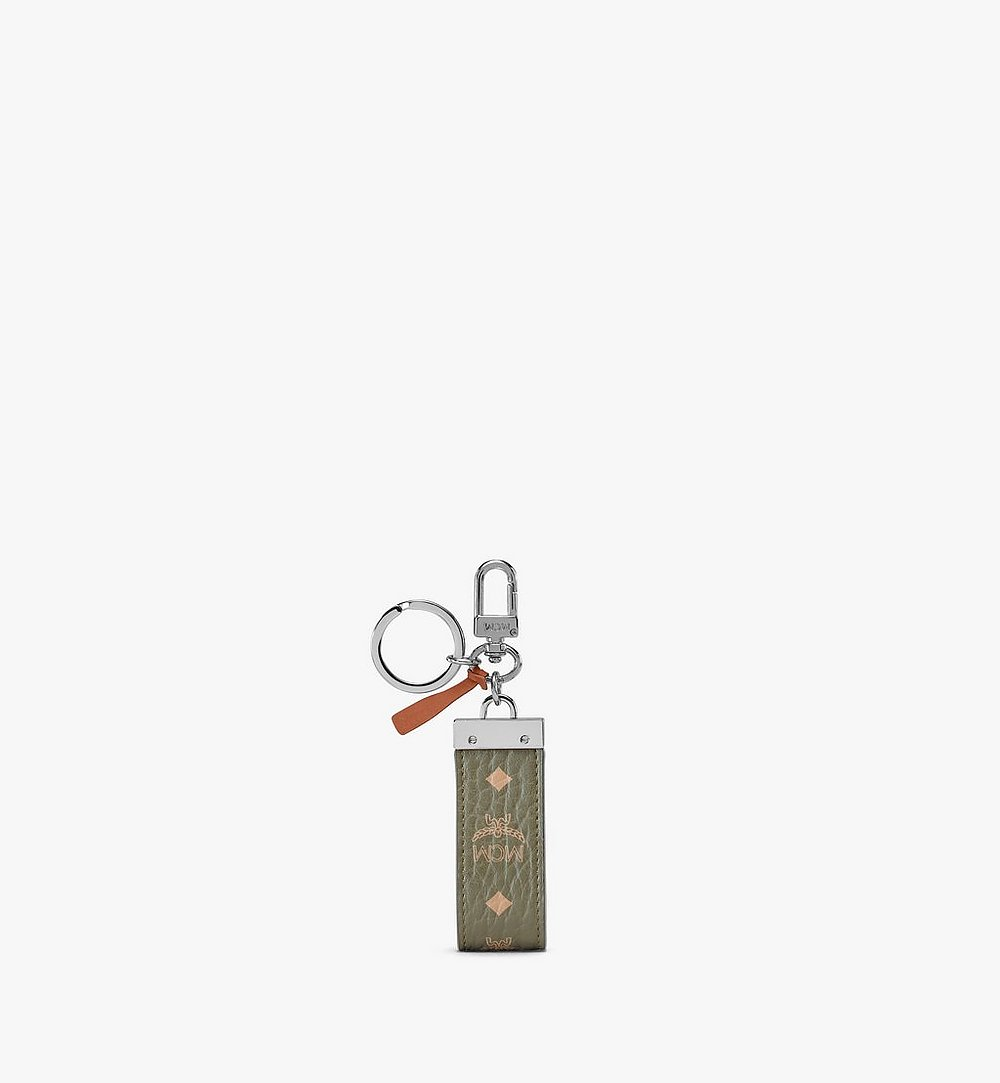 MCM Key Ring in Visetos Original Green MXZAAVI09JH001 Alternate View 1