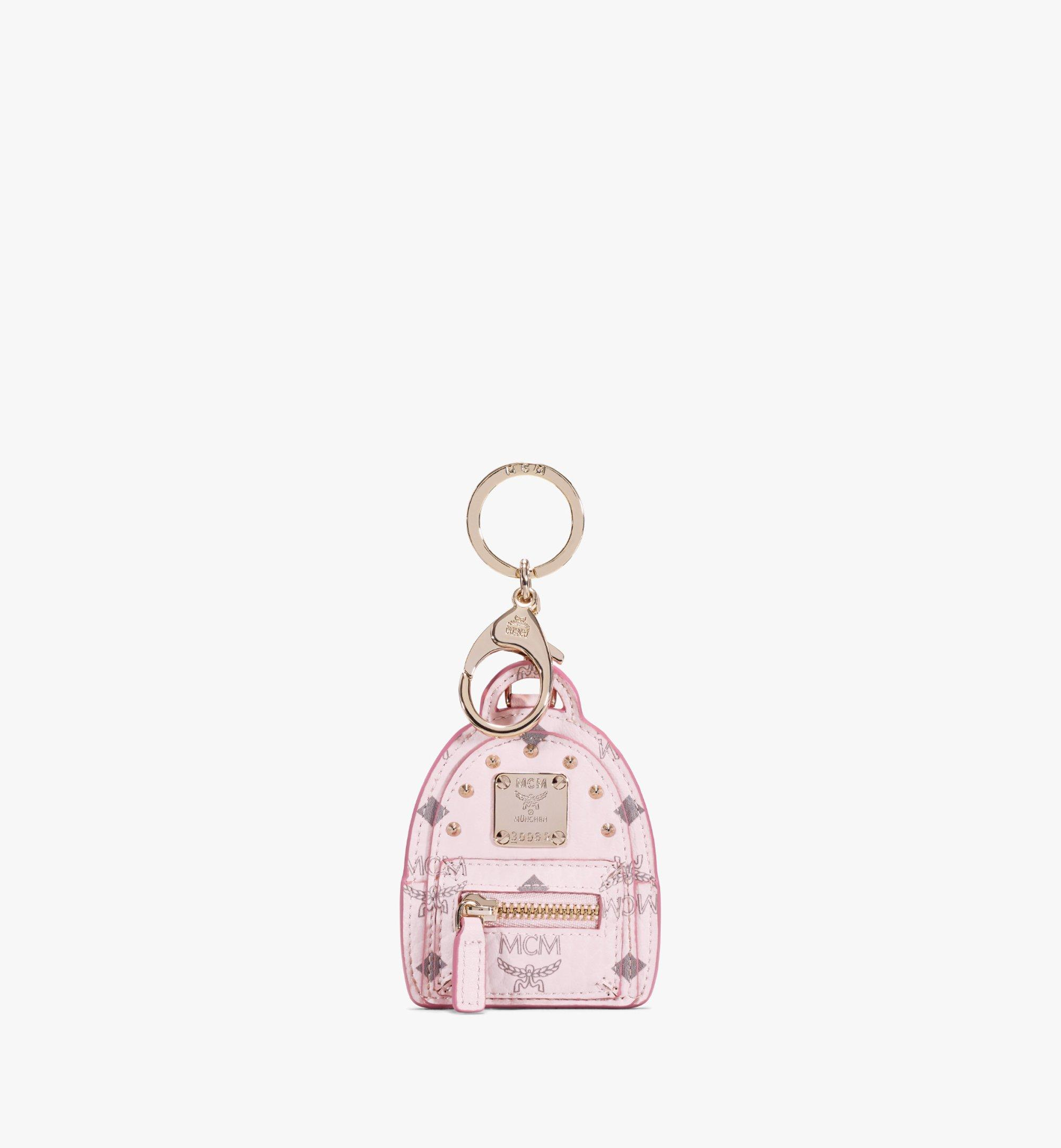 MCM Stark Backpack 2D Charm in Visetos Pink MXZAAVI17QH001 Alternate View 1