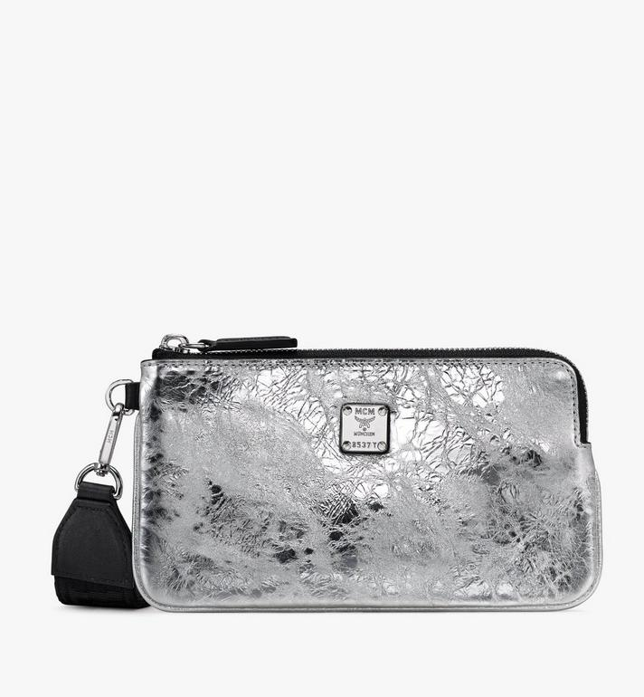 MCM Klassik Tech Pouch in Crushed Metallic Leather Alternate View