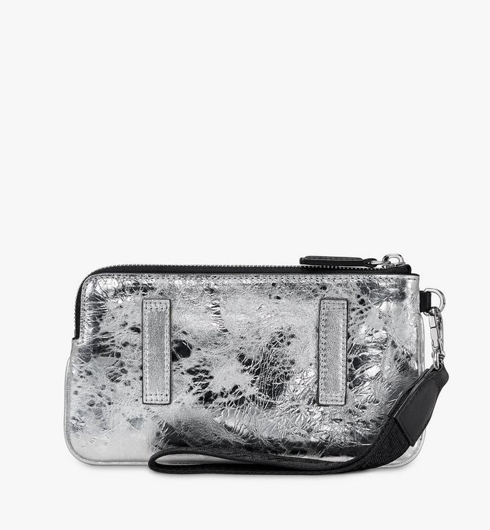 MCM Klassik Tech Pouch in Crushed Metallic Leather Silver MXZASKC01SA001 Alternate View 2