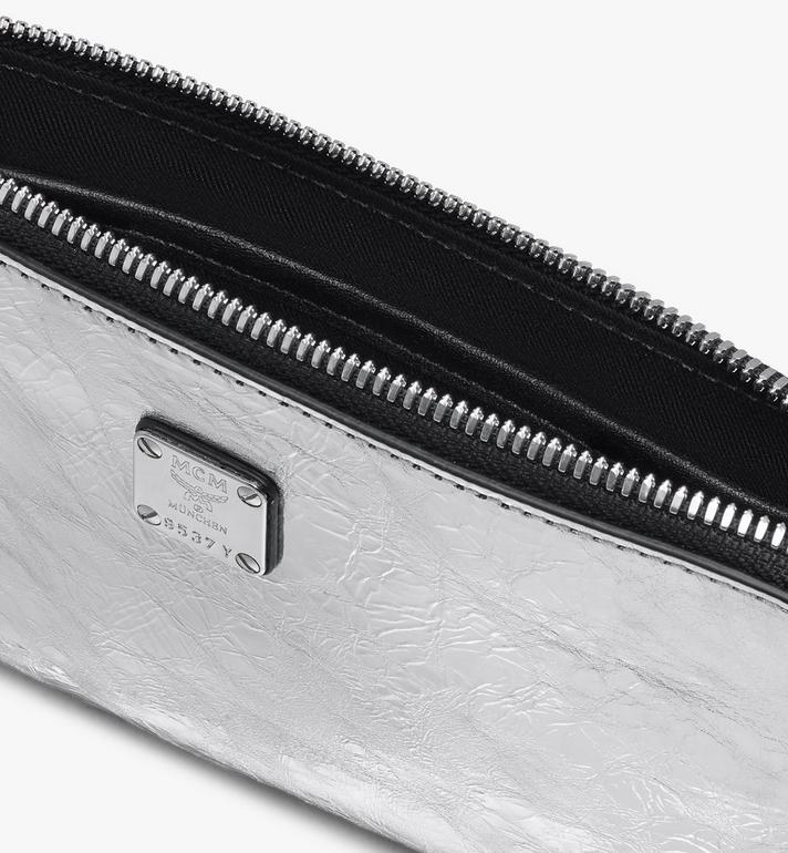 MCM Klassik Tech Pouch in Crushed Metallic Leather Silver MXZASKC01SA001 Alternate View 3