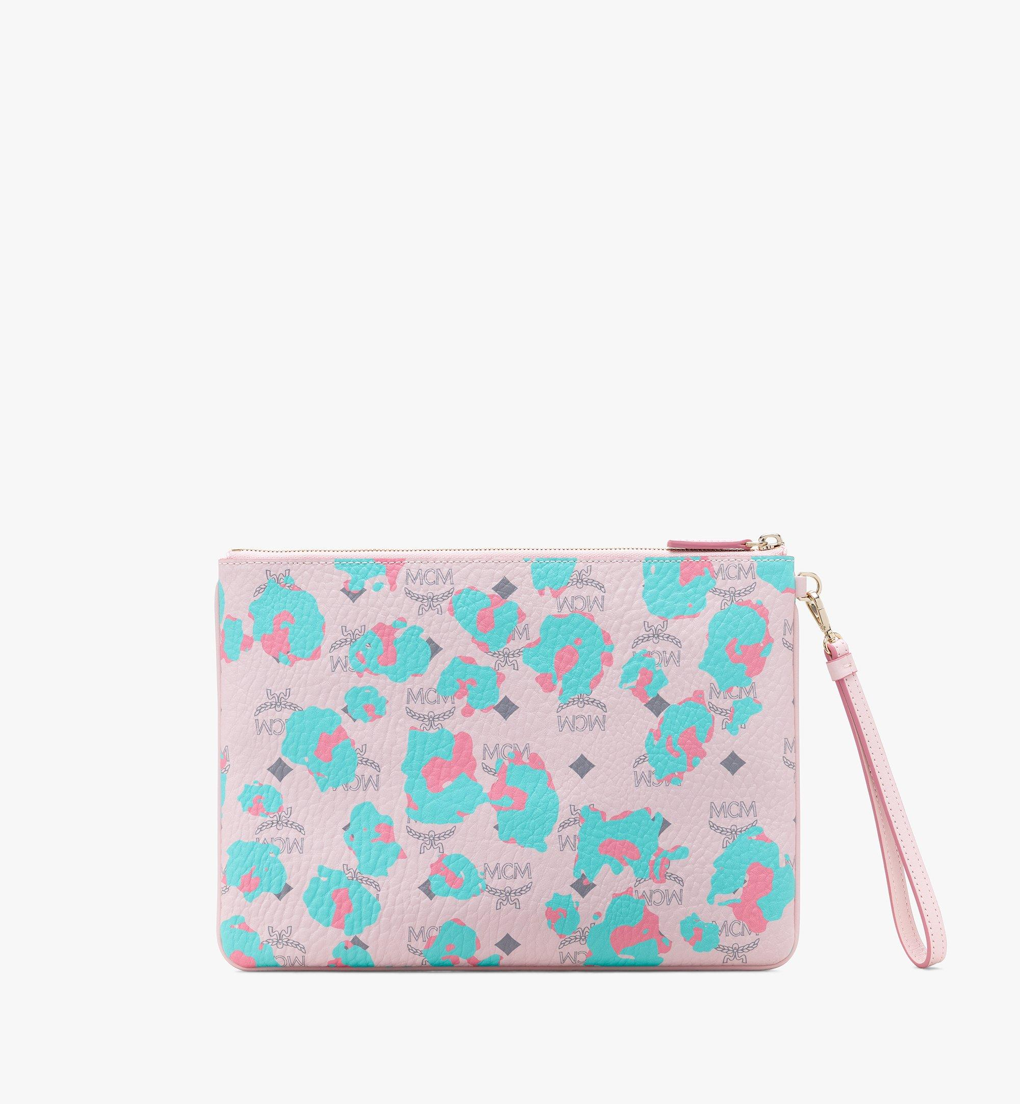 MCM Wristlet Zip Pouch in Floral Leopard Pink MXZASLF01QI001 Alternate View 1