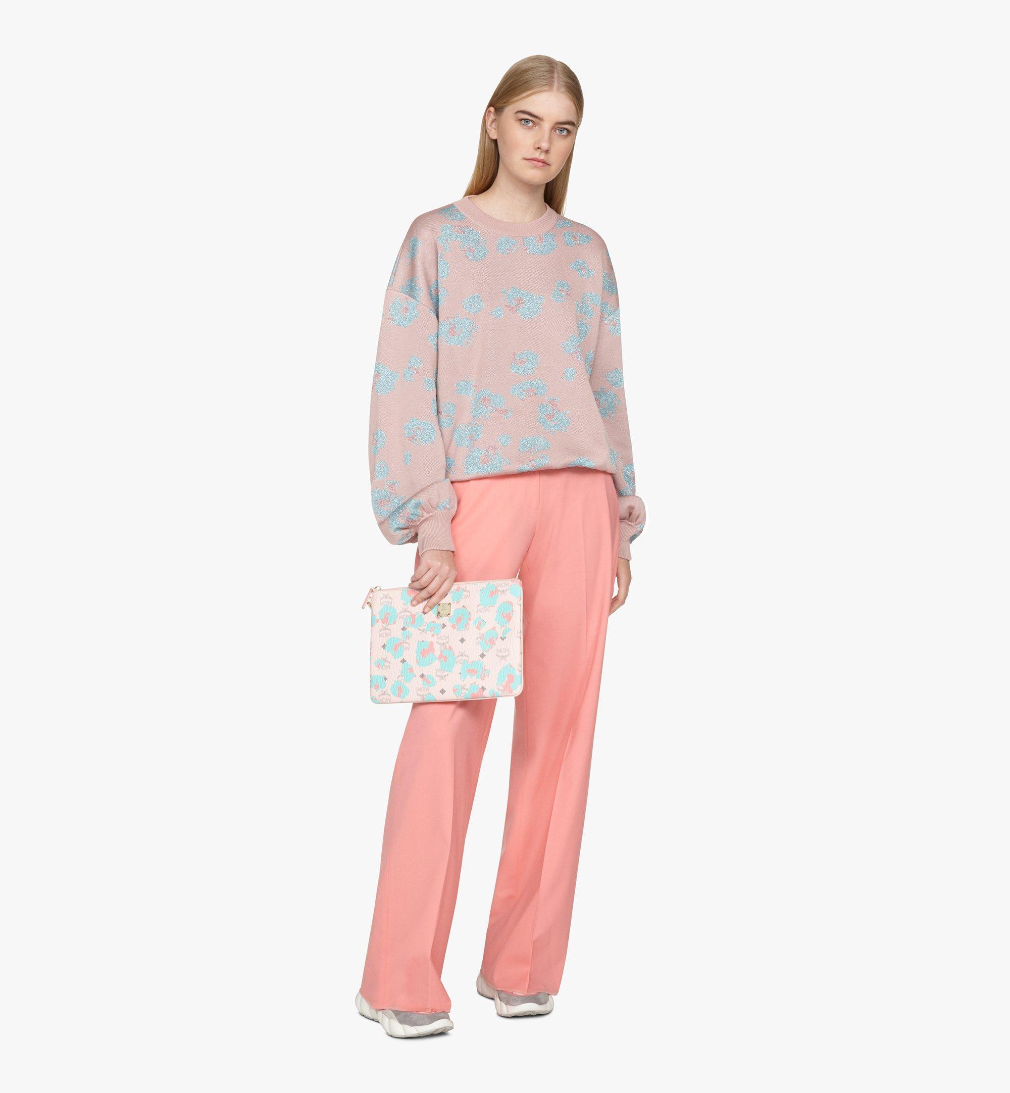 MCM Wristlet Zip Pouch in Floral Leopard Pink MXZASLF01QI001 Alternate View 2