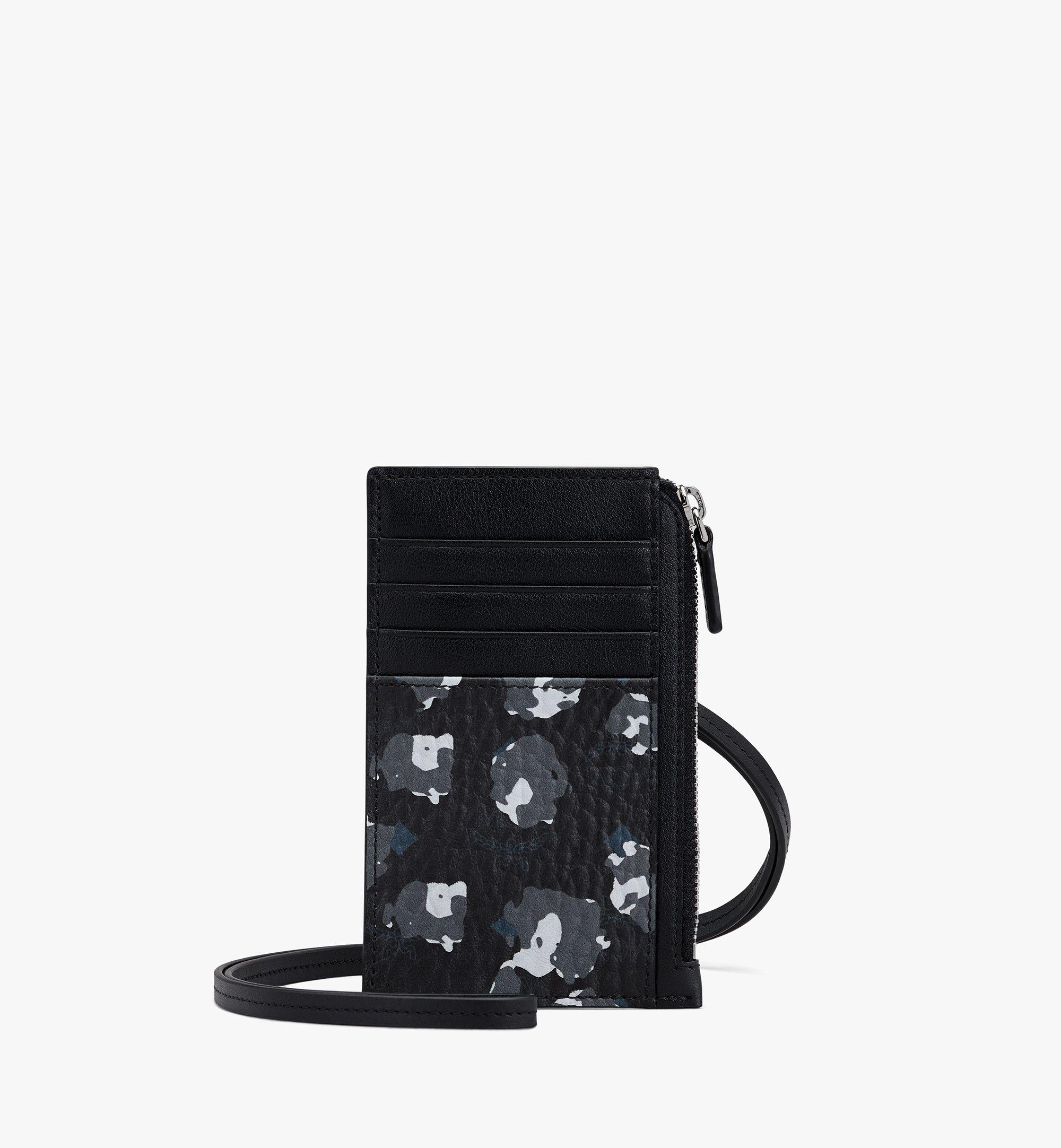 MCM Lanyard Card Holder in Floral Leopard Black MXZASLF02B1001 Alternate View 1