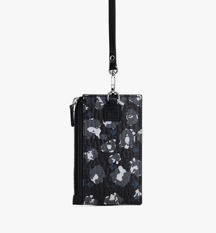 MCM Lanyard Card Holder in Floral Leopard Black MXZASLF02B1001 Alternate View 2