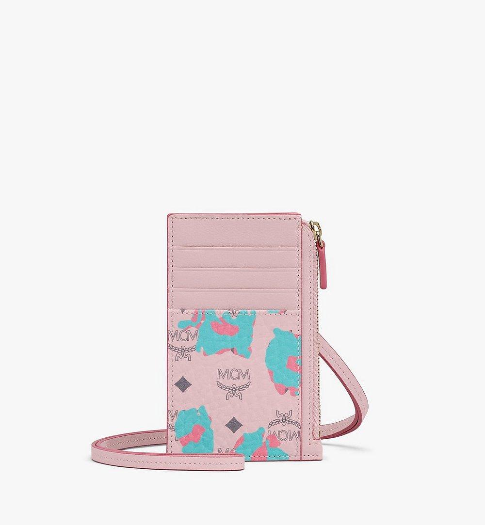 MCM Lanyard Card Holder in Floral Leopard Pink MXZASLF02QI001 Alternate View 1