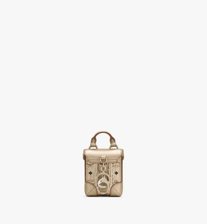 MCM Soft Berlin Charm with Crossbody Strap in Visetos Gold MXZASVI01T1001 Alternate View 3