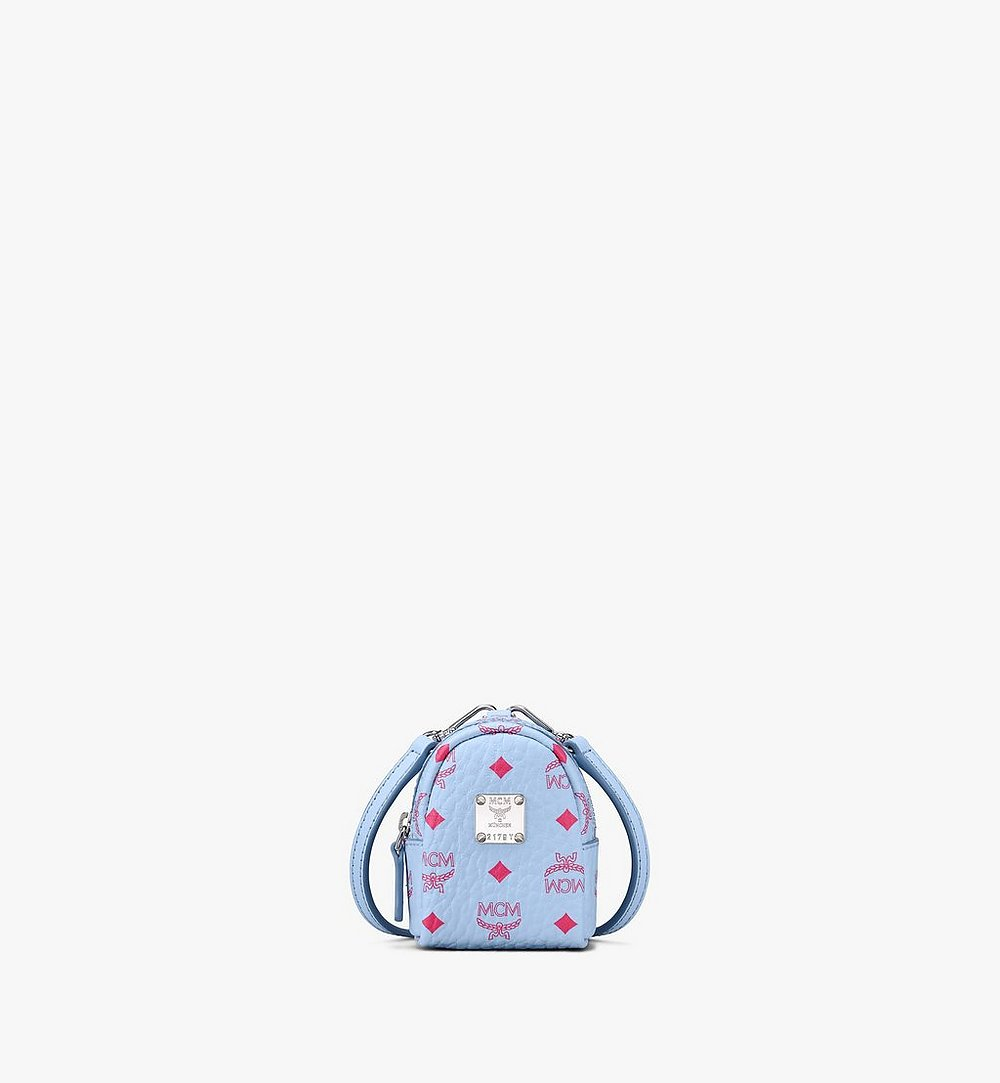 MCM Backpack Charm with Crossbody Strap in Visetos Blue MXZASVI02H2001 Alternate View 1