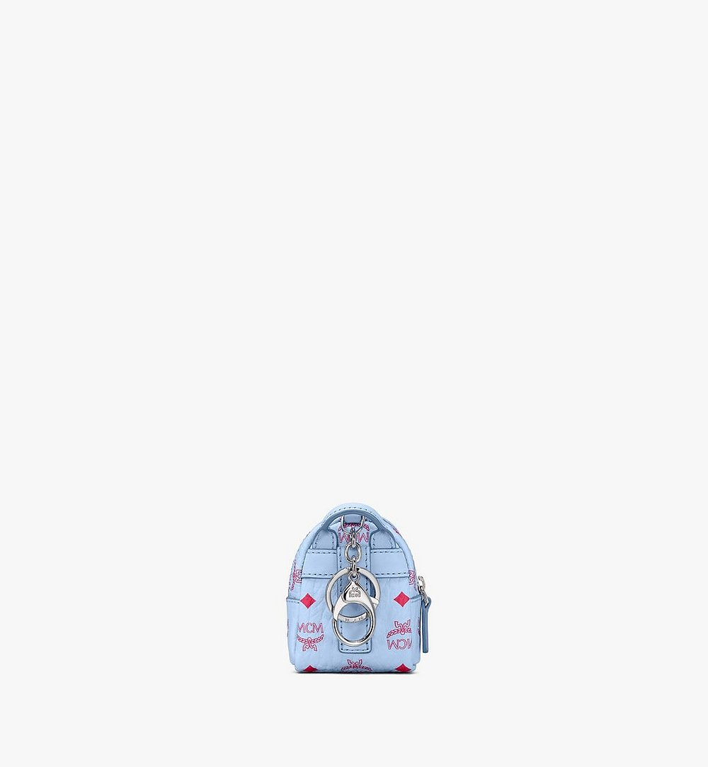 MCM Backpack Charm with Crossbody Strap in Visetos Blue MXZASVI02H2001 Alternate View 2