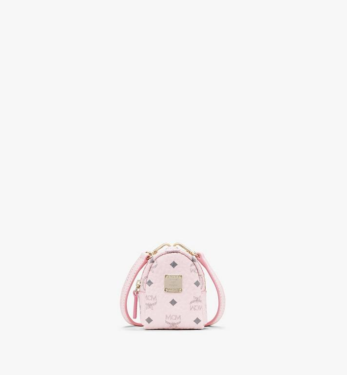 MCM Backpack Charm with Crossbody Strap in Visetos Pink MXZASVI02QH001 Alternate View 1