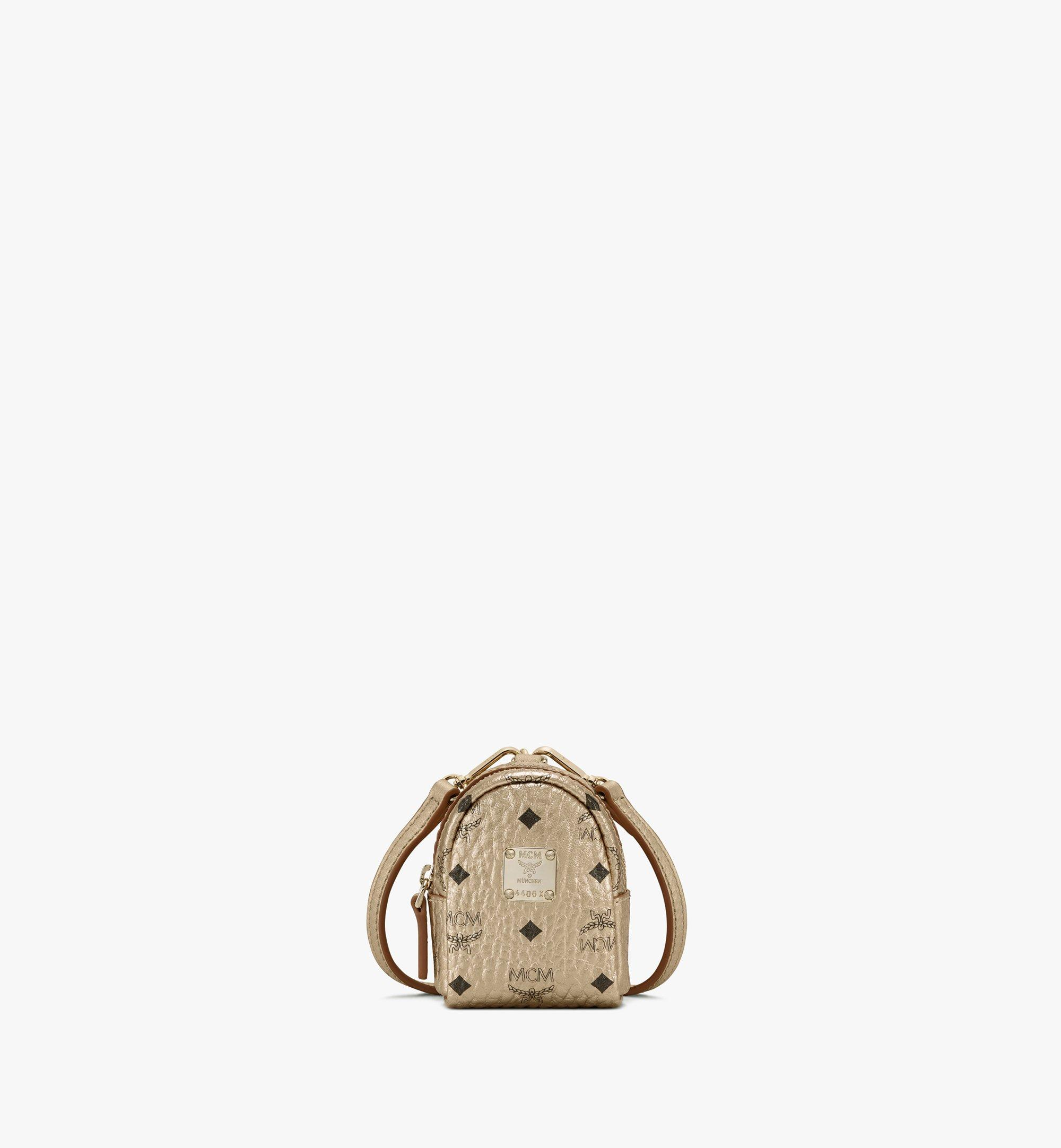 MCM Backpack Charm with Crossbody Strap in Visetos Gold MXZASVI02T1001 Alternate View 1