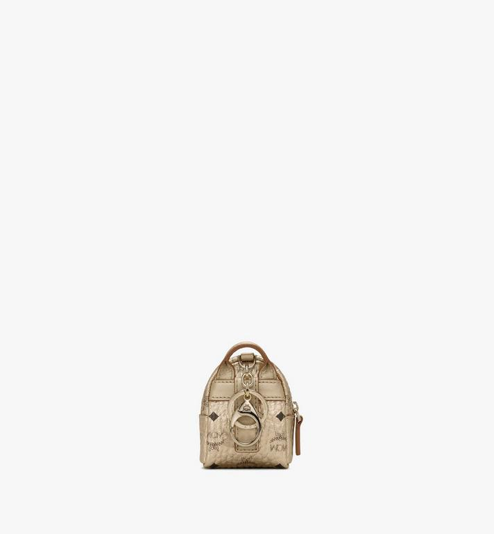 MCM Backpack Charm with Crossbody Strap in Visetos Gold MXZASVI02T1001 Alternate View 3