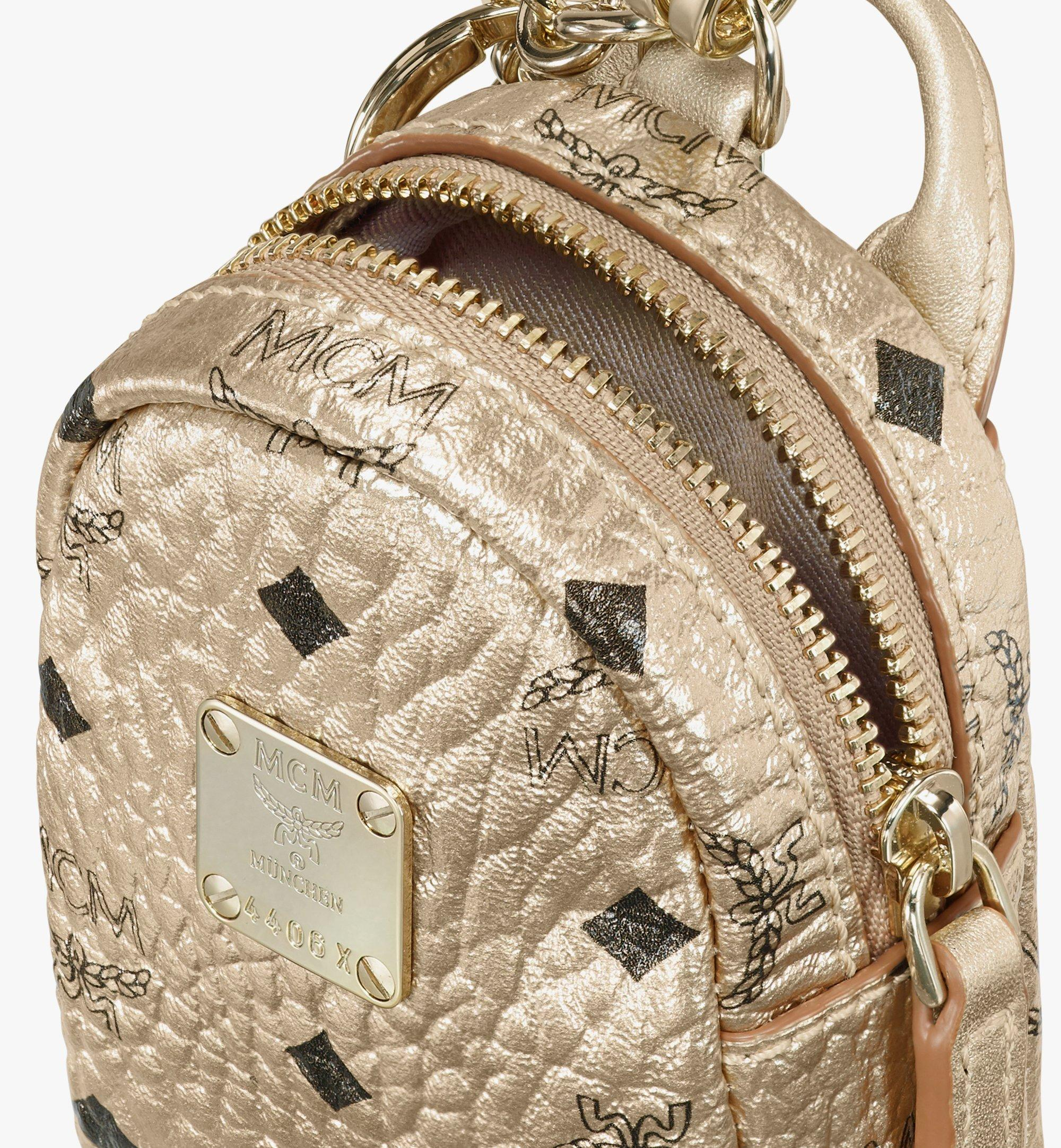MCM Backpack Charm with Crossbody Strap in Visetos Gold MXZASVI02T1001 Alternate View 4