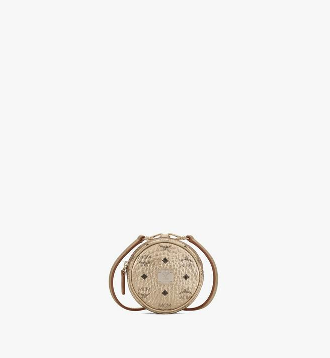 MCM Tambourine Charm with Crossbody Strap in Visetos Alternate View