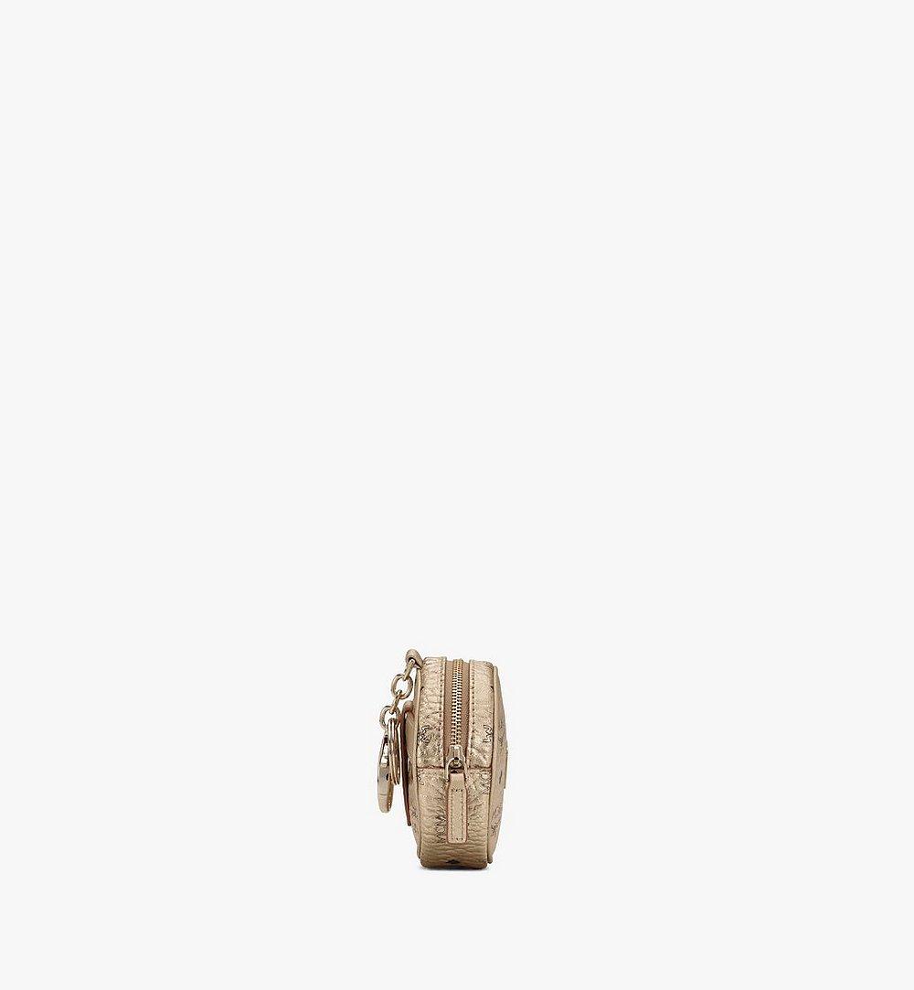 MCM Tambourine Charm with Crossbody Strap in Visetos Gold MXZASVI03T1001 Alternate View 1
