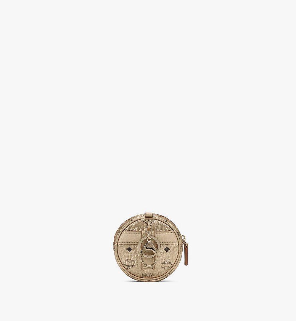 MCM Tambourine Charm with Crossbody Strap in Visetos Gold MXZASVI03T1001 Alternate View 2