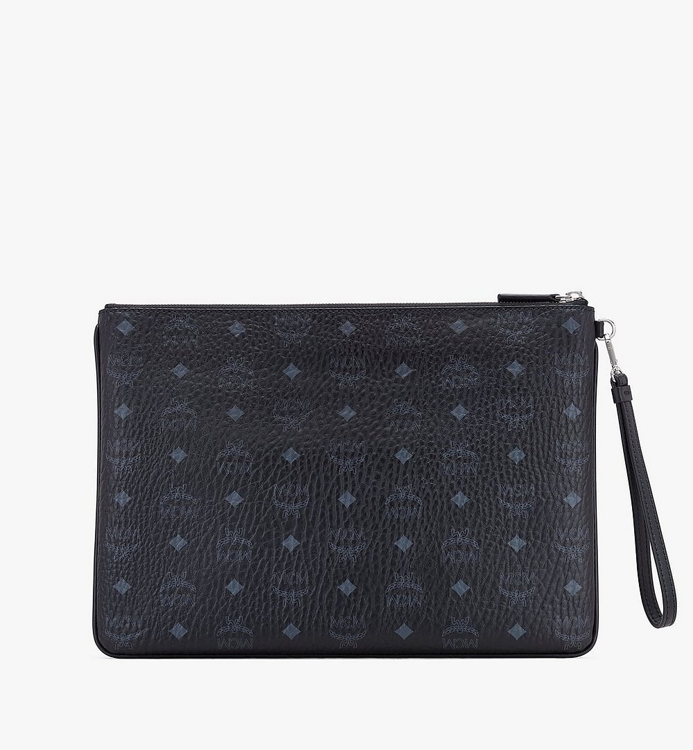 MCM Wristlet Zip Pouch in Visetos Black MXZASVI08BK001 Alternate View 1