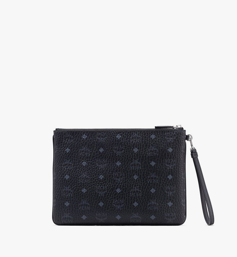 MCM Wristlet Zip Pouch in Visetos Black MXZASVI10BK001 Alternate View 1