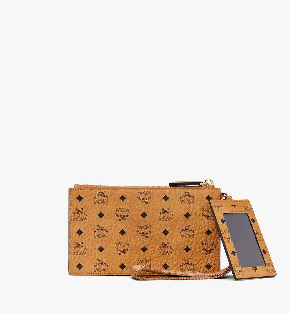 MCM Multifunction Pouch in Visetos Cognac MXZASVI12CO001 Alternate View 1