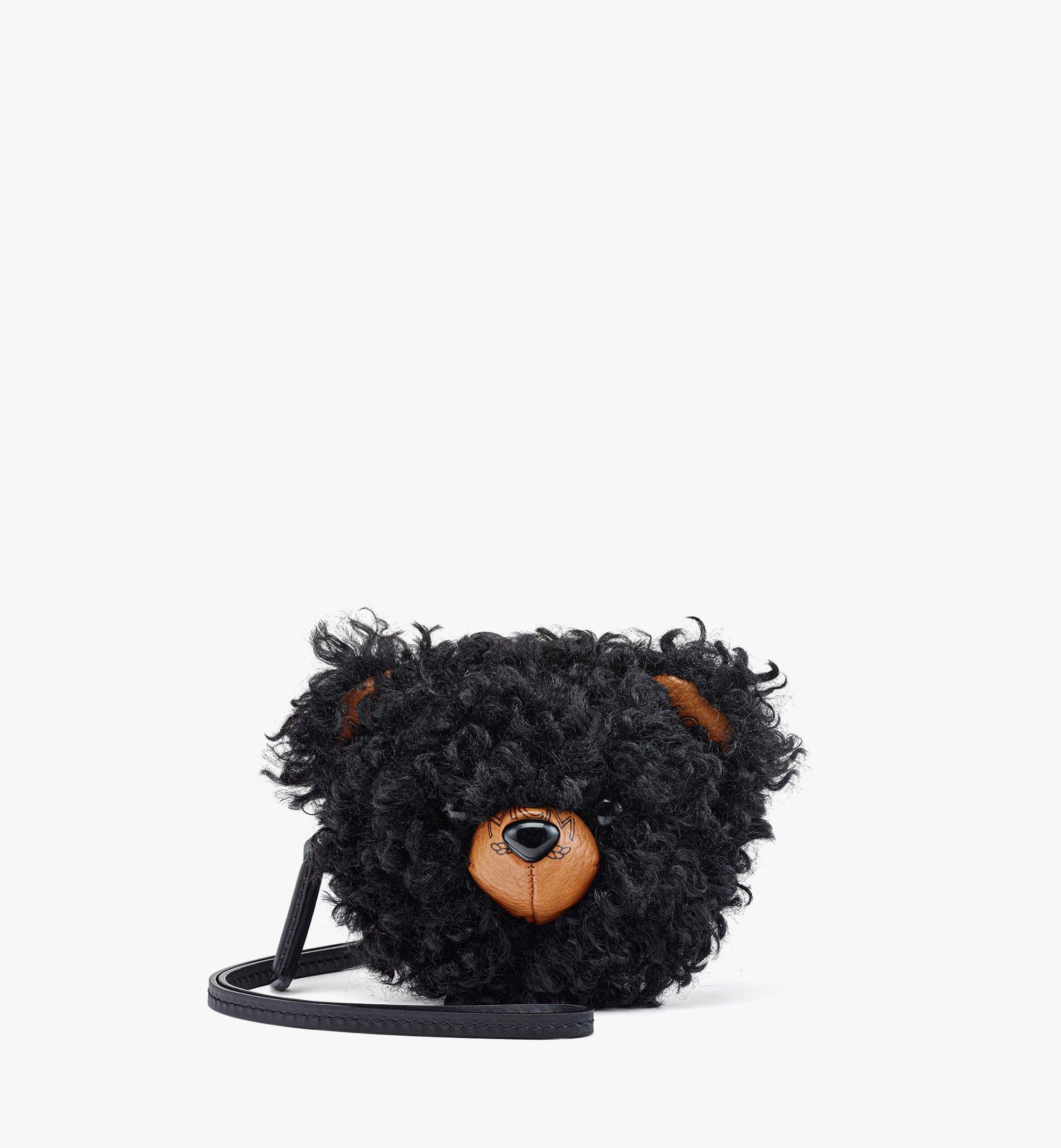 MCM Bear Pouch Charm in Faux Fur Visetos Black MXZBASX01BK001 Alternate View 1