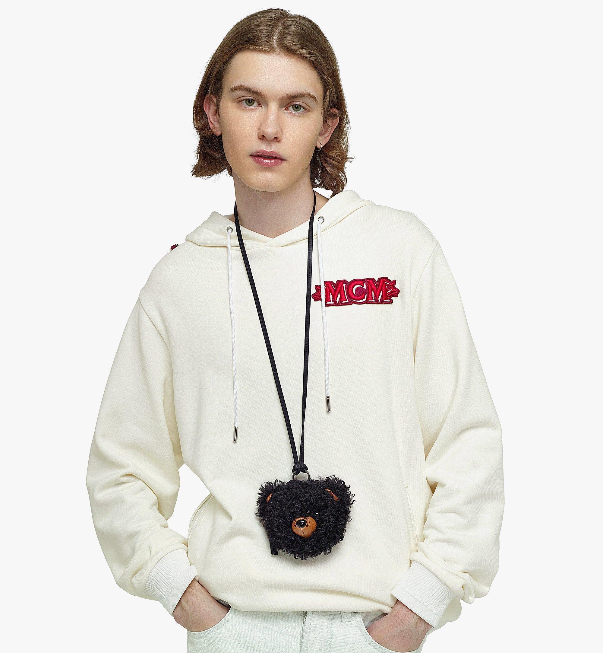 MCM Bear Pouch Charm in Faux Fur Visetos Black MXZBASX01BK001 Alternate View 2